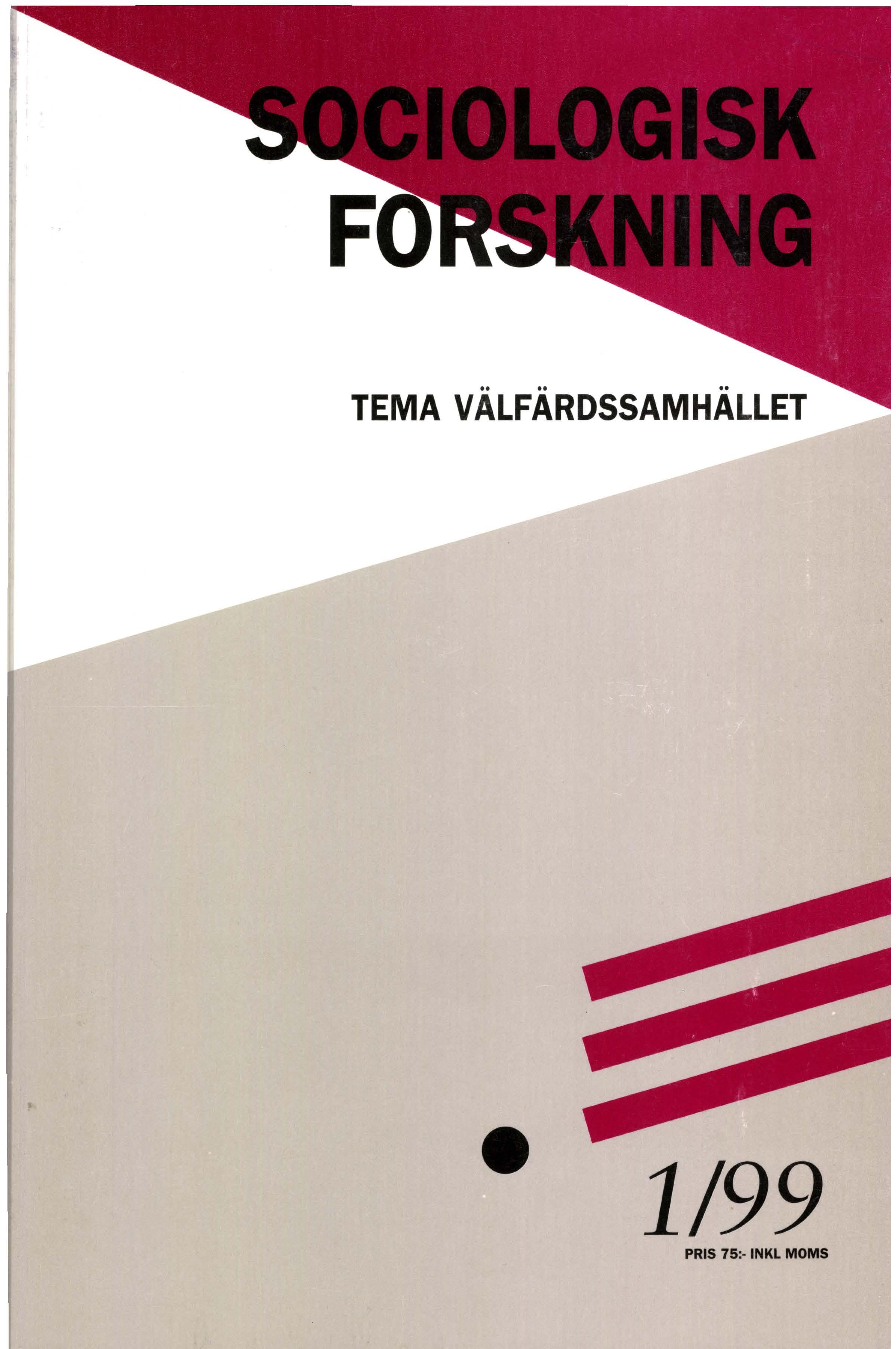 Visa Vol 36 Nr 1 (1999): Tema: Välfärdssamhället