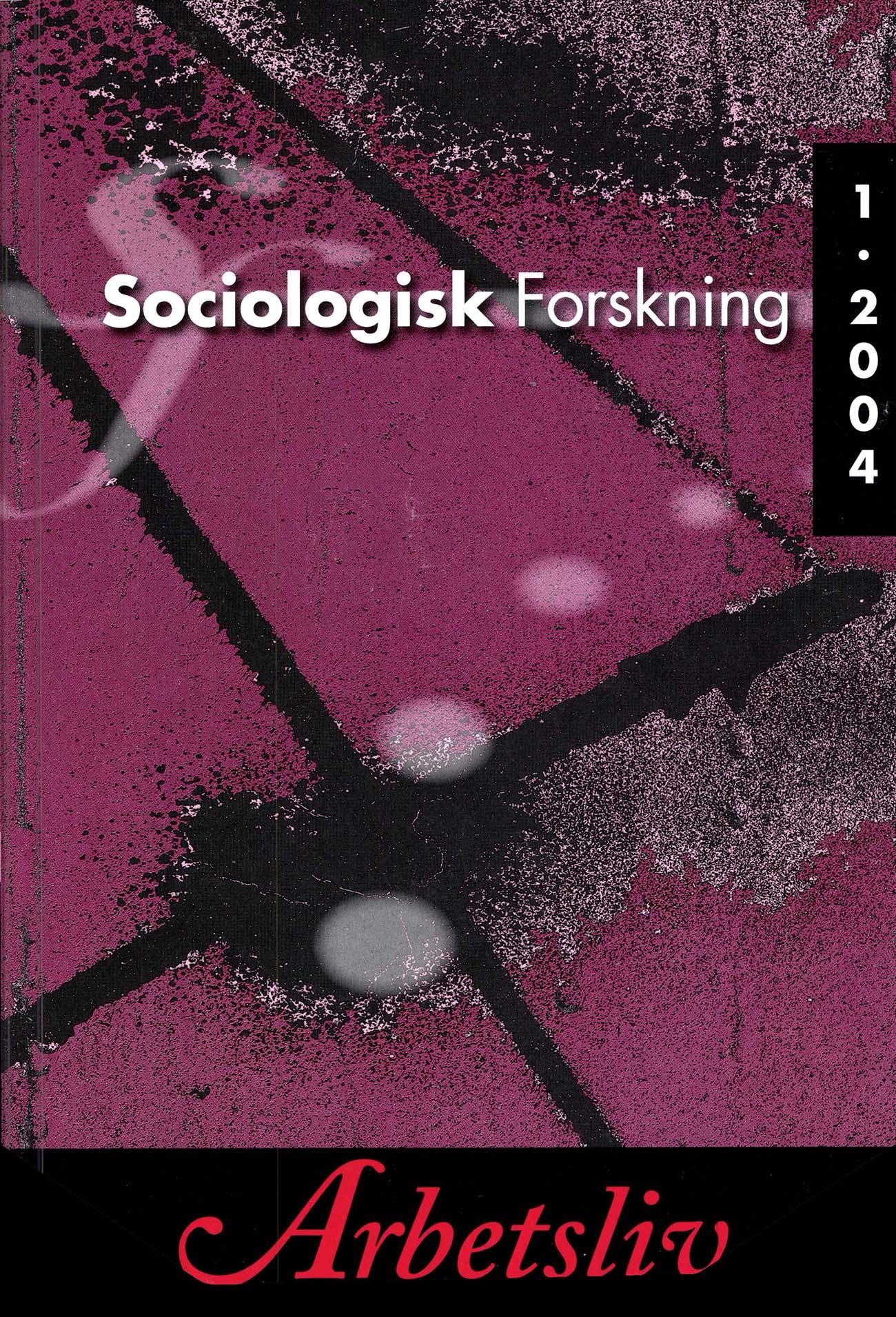 Visa Vol 41 Nr 1 (2004): Tema: Arbetsliv