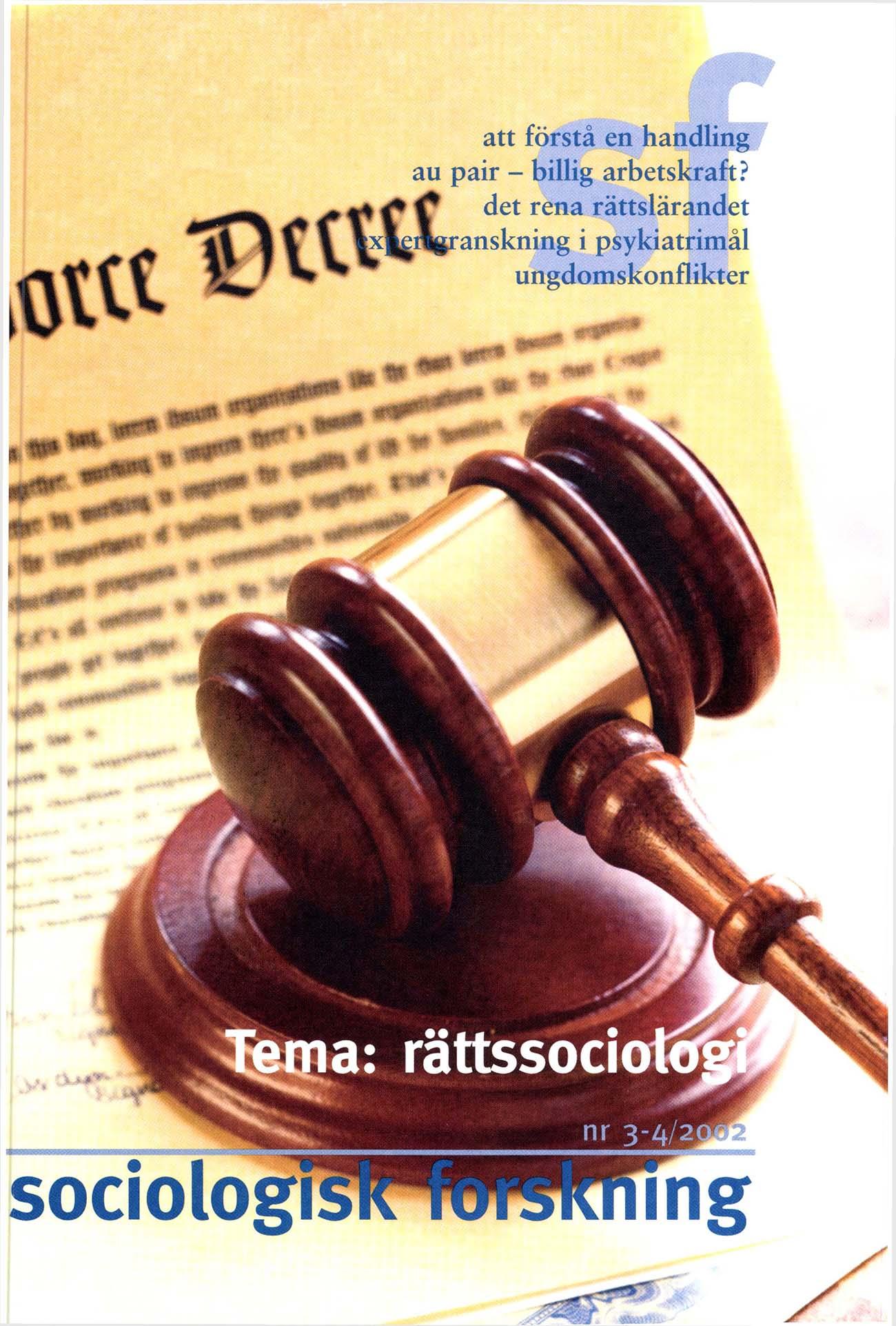 Visa Vol 39 Nr 3-4 (2002): Tema: Rättssociologi